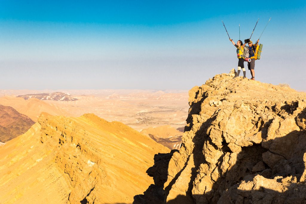 Hiking in makhtesh ramon